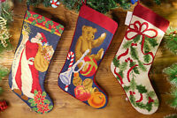 Pretty Hand Stitched Needlepoint Christmas Stocking Santa Clause Knot Teddy Bear