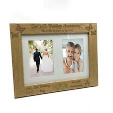 Personalised Our 25th Anniversary Double Wooden Photo Frame Gift C28-A4-4