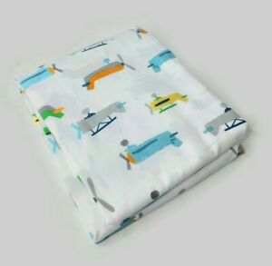 Pottery Barn Kids Asher Airplane Queen Size Flat Sheet White - New