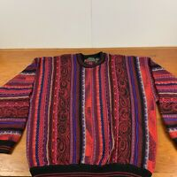 Croft & Barrow Cable Knit Sweater XL Red Colorful Coogi Style Biggie 90s Vtg