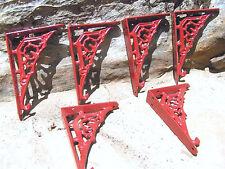 SIX small Cast Iron wall shelf Brackets, Teeny Tiny Braces, RED