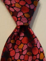 PAUL SMITH Men's 100% Silk Necktie ITALY Luxury Geometric Red/Pink/Blue EUC