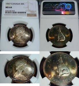 1967 CANADA 50 CENTS NGC MS64 LOVELY TONED