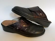 Finn Comfort Womens Mule Slides Size 39 D Black Leather & Red Patent 5295606 5