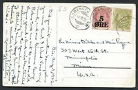 """NORWAY to USA USED Postcard 1922 NORANGFJORD"""" Cancel VF"""