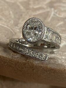Judith Ripka Diamonique Bypass Sterling Silver Wrap Ring Size 8