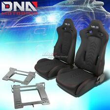 NRG BLACK RECLINABLE RACING SEATS+FULL STAINLESS BRACKET FOR MK3 VW GOLF/GTI(Fits: Golf)