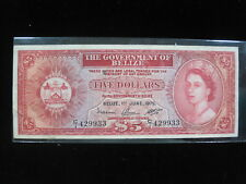 BELIZE $5 DOLLAR 1975 P35 BRITISH QUEEN 20# CURRENCY BANKNOTE PAPER MONEY