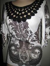 Claire Pettibone Top Black White Paisley Crochet Neck Neiman Marcus M NeW $90