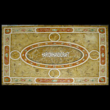 8'x3' Beautiful Art Marble Creative Stone Table Inlay Top Marquetry Decor H3945D