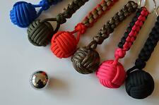 Paracord 1'' Steel Monkeys Fist Lanyard for Survival, Gift (Choose your colour)