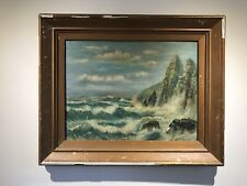 Victorian Oil Painting On Board Sea Ships Storm Costal Gold Frame Old