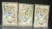 Three Antique 3 Dimensional Bisque Plates - Young Girls & Boy On Swing