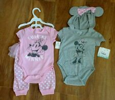 NWT Disney Minnie Mouse Girls 3 Piece Hoodie Bodysuit and Tutu Pants 12 Month