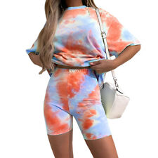 Women Tie Dye Shirts Tight Shorts Set Sports Running Summer Tracksuit Loungwear