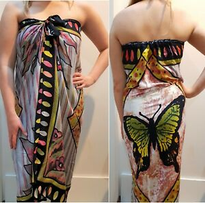Mumu Sarong Butterfly Green Tube Dress Boho Hippy Beach Bali Sz S M L XL 10-22