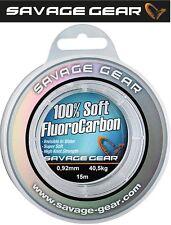 (1,46€/1m) Savage Gear Soft Fluorocarbon Schnur 0,92mm 15m 40,5kg, Vorfachschnur