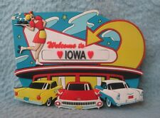 Drive In Restaurant 1950's Classic Car Waitress Welcome To Iowa 3D Rubber Magnet