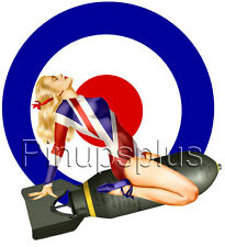 Sexy Pinup Girl Decal Waterslide Sticker British Flag Military Roundel S1034
