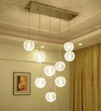 LED Glass Balls Ceiling Lamp Dining Room Chandelier Rectangle Duplex Light #1052