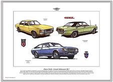 FORD CONSUL & GRANADA MK1 - Fine Art Print A3 size - GXL Consul GT & Ghia Coupe