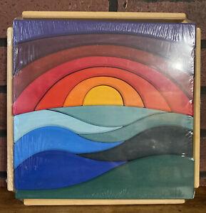 Grimms Large Colorful Square Wooden Sunset Landscape Theme Puzzle !