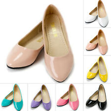 Womens Ladies Flat Pumps Candy Ballet Ballerina Dolly Bridal Work Casual Shoes