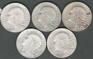 Poland 5 Zlotych 1932 Queen Judwiga , 5 High Grade Silver coins ,    coin (1020)