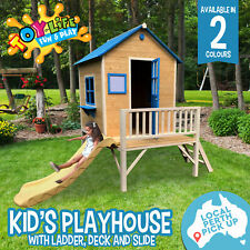 Blue Kids Playhouse W/ Slide Base Balcony Wooden Cubby House Children Play Set