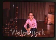 1960s kodachrome photo slide  Boy with Tinkertoys  tinker toys