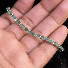 Natural Colombian Emerald Bracelet Magnificent Finest Green Gemstones 925 Silver