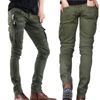 Fashion Mens Punk Cotton Overalls Straight Jeans Zip Pockets Slim Skinny Pants