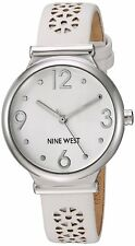 Nine West White Dial Silver Tone White Leather Women's Watch NW/1781WTWT SD