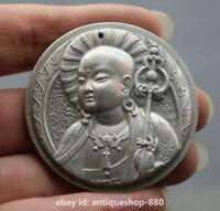 """1.9"""" Chinese Miao Silver Ksitigarbha Boddhisattva Kwan-yin Head Amulet Pendant"""