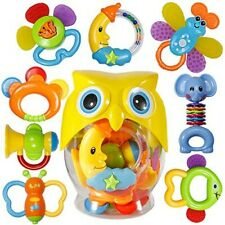Baby Rattle Sets Teether Rattles Toys, 8Pcs Babies Grab Shaker And Spin Rattle T