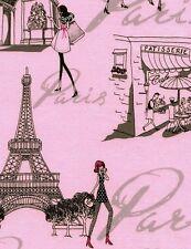 Timeless Treasures Paris Chic April in Paris Cotton Fabric C3623-Pink BTY