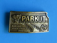 PARK IT Brass Belt Buckle - NEW RARE 1986 Kansas State Parks Resources Authority