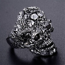 Gothic Men's Stainless Steel Silver Cool Punk Skull Finger Rings Jewelry Size 9