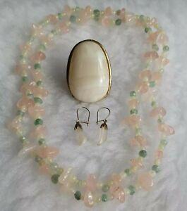 Rose Quartz, Aventurine & Quartz Necklace, Quartz Earrings & A Ring