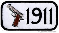 GUN PATCH 1911 PISTOL EMBLEM 2nd AMENDMENT EMBROIDERED IRON-ON SEMI-AUTO - WHITE