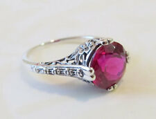 Ruby Solitaire Floral Filigree Ring Sterling Silver Antique Vtg Style Sz 7