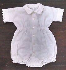 Vtg Baby Boy Jon Jon Romper 12-24M White Striped Rick Rack Trim Doll