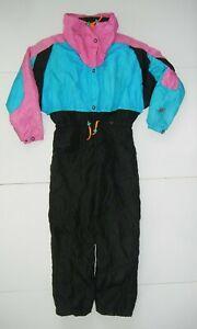 Vtg 80s 90s ROFFE Pink/Black FANTA-SKI SNOW SUIT Winter Jacket Pants Women's 14
