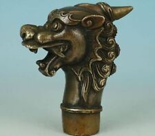 Worth Collection China Old Dragon Statue Collection Bronze Walking Stick Head