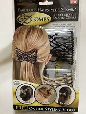 EZ Combs Bermuda Black/Sahara Sandalwood Double Hair Combs As Seen On TV New NIB