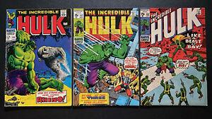Incredible Hulk Lot 104 127 132 Silver Age Classic Battle vs Rhino