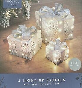 SET OF 3 LED LIGHT UP XMAS CHRISTMAS GIFT PARCEL BOX SET DECORATION