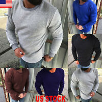 Mens Crew Neck Hoodie Sweatshirt Jumper Sweater Plain Casual Shirt Tops Pullover