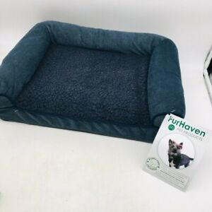 Furhaven Dog Sherpa Chenille Sofa Orthopedic Orion Blue Bed Size SM-15X20 Inch