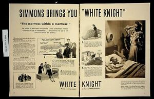 1942 Simmons White Knight Mattress Bedroom Vintage Print ad 8616
